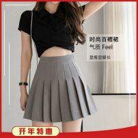 skirt Spring 2021 XS,S,M,L,XL,2XL Short skirt High waist Pleated skirt Other / other bow