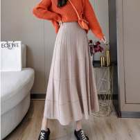 skirt Winter 2020 S,M,L,XL,2XL Dark grey, black, khaki, brown longuette commute High waist A-line skirt Solid color Type A 25-29 years old Levis-8146 51% (inclusive) - 70% (inclusive) knitting nylon Korean version