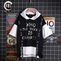 T-shirt Youth fashion White (chest ribbon), black (chest ribbon), white (armband), black (armband), khaki (armband) routine M,L,XL,2XL,3XL Others Short sleeve Hood easy Other leisure summer teenagers routine tide 2019 Alphanumeric printing The thought of writing No iron treatment Fashion brand