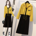 Dress Spring 2021 Yellow purple Large L XL 2XL 3XL 4XL Mid length dress Two piece set Long sleeves commute High waist Solid color Socket other 18-24 years old Type H Wang Huiqian Korean version More than 95% other other Other 100%