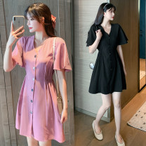 Women's large Summer 2021 Black Pink M L XL 2XL 3XL 4XL Dress singleton  Sweet easy moderate Cardigan Short sleeve Solid color V-neck Three dimensional cutting Lotus leaf sleeve Wang Huiqian 18-24 years old Medium length Other 100% Princess Dress Three buttons Ruili