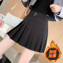 skirt Autumn 2020 S,M,L,XL,2XL,3XL Black, black (plush) Short skirt Versatile High waist Pleated skirt Solid color Type A 18-24 years old 71% (inclusive) - 80% (inclusive) polyester fiber fold