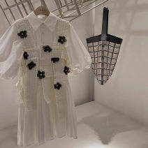 Dress Summer 2021 Two piece suit with flower waistcoat and lining dress S,M,L Mid length dress Sweet Pleated skirt Ocnltiy