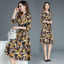 Dress Autumn 2020 Yellow flower 2XL (126-135) kg, 3XL (136-145) kg, 4XL (146-155) kg Long sleeves Broken flowers 30-34 years old MLN9907