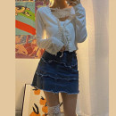 T-shirt Top Denim Skirt Top + denim skirt S M L XL Spring 2021 Long sleeves V-neck Self cultivation Regular routine commute polyester fiber 30% and below 18-24 years old Simplicity Solid color Carmine Polyester 20% others 80% Pure e-commerce (online only)