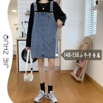 Dress Summer 2021 Blue black XS S M L Miniskirt singleton  Sleeveless commute Loose waist Solid color Socket One pace skirt straps 18-24 years old Type A Jie Zhuo Korean version pocket More than 95% Denim other Other 100%