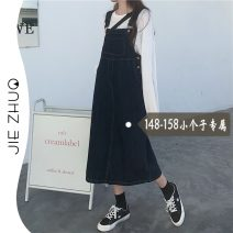 Dress Summer 2021 navy blue S M L XS Mid length dress commute A-line skirt straps 18-24 years old Type A Jie Zhuo Korean version More than 95% other Other 100%