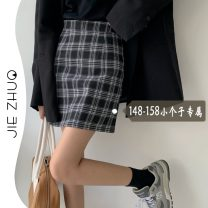 skirt Spring 2021 XS S M Black and white, yellow Short skirt commute High waist A-line skirt lattice Type A 18-24 years old More than 95% other Jie Zhuo other Korean version Other 100%