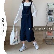 Dress Spring 2021 navy blue S M L XL XS Mid length dress singleton  Sleeveless commute One word collar High waist Solid color other A-line skirt other straps 18-24 years old Type H Jie Zhuo Korean version pocket More than 95% Denim other Other 100%