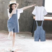 suit Other / other White, collect and purchase first 120cm,130cm,140cm,160cm,170cm female summer Korean version Short sleeve + pants 2 pieces Thin money There are models in the real shooting Socket nothing Solid color blending children Giving presents at school New 6 Class A Other 100% Wenzhou City