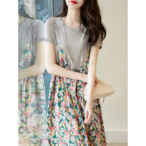 Dress Spring 2021 Broken flowers S M L XL Mid length dress Fake two pieces Short sleeve commute Crew neck High waist Broken flowers Socket A-line skirt other Others 30-34 years old Type A Qin Jiayi Korean version Lace W26Q30797 71% (inclusive) - 80% (inclusive) Cellulose acetate