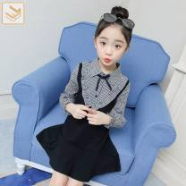 Dress Black check female Other / other Other 100% spring and autumn college Long sleeves lattice other Lotus leaf edge Class B 2 years old Chinese Mainland