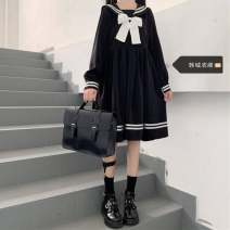 Dress Autumn 2020 Bow, round button S,M,L,XL Short skirt singleton  Long sleeves Sweet Admiral High waist Solid color Socket other routine 18-24 years old Type A Other college