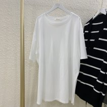 Women's large Summer 2016 White, black Average size (80-155 kg) T-shirt Solid color Other / other 30% and below