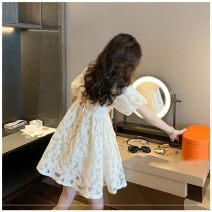 Dress Summer 2020 Bubble sleeve, suspender S,M,L,XL Short skirt singleton  Short sleeve commute square neck High waist Solid color Socket A-line skirt puff sleeve Oblique shoulder 18-24 years old Other Korean version Bowknot, hollow out, open back, lace up More than 95% polyester fiber