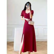 Dress Summer 2021 gules S L XS M Mid length dress singleton  Short sleeve commute V-neck High waist Solid color zipper A-line skirt routine Others 25-29 years old Type A Love in the July 7th Retro Zipper resin fixation LZQX3-2104 More than 95% other other Other 100% Pure e-commerce (online only)