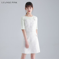 Dress Summer 2021 green XS S M L Short skirt singleton  Sleeveless commute square neck High waist Socket A-line skirt routine camisole 18-24 years old Type A Lounge Pink Simplicity Button 1SBELGPDRSW239 More than 95% other polyester fiber Polyester 100% Pure e-commerce (online only)
