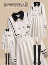 Dress Winter 2020 Black dress 810785, white dress 810785 S,M,L,XL Mid length dress singleton  Long sleeves commute stand collar High waist Solid color zipper Big swing routine Others 25-29 years old Type A Oenothera lady Button, zipper More than 95% polyester fiber