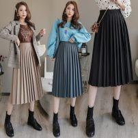 Gift bag / plastic bag Black, khaki, gray, type A / Japanese / high end / noble / purchasing agent / medium length, women / arm / Skirt / new style / fashion / hundred, high waist / hip / little man / New Year / lattice skirt / Lei