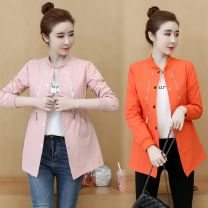 short coat Spring 2021 M,L,XL,2XL Orange, pink Long sleeves Medium length routine Versatile stand collar zipper Fold, pocket, thread, zipper, stitching, thread decoration, pleating