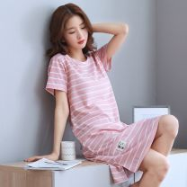 Nightdress Other / other Grey 9015 , Pink 1010 , Red pocket , Green 1020 , Royal Blue Pocket , Purple 6025 , Barbie 6025 , Pink 9015 Simplicity Short sleeve pajamas longuette summer stripe youth Crew neck cotton printing More than 95% pure cotton 200g