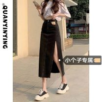 skirt Summer 2021 S M L XS Light blue and dark grey Mid length dress commute High waist Denim skirt Solid color Type A 18-24 years old More than 95% Quan Yin Ying other pocket Korean version Other 100% Pure e-commerce (online only)
