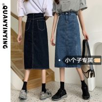 skirt Summer 2021 S M L XS Dark blue light blue Mid length dress commute High waist Denim skirt Solid color Type A 18-24 years old More than 95% Denim Quan Yin Ying other Korean version Other 100% Pure e-commerce (online only)