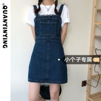 Dress Summer 2021 blue S M L XS Short skirt singleton  Sleeveless commute One word collar High waist Solid color Socket A-line skirt straps 18-24 years old Type A Quan Yin Ying Korean version More than 95% Denim other Other 100% Pure e-commerce (online only)