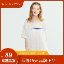 Dress Summer 2020 Check beige, check dark grey blue S,M,L,XL Mid length dress singleton  Short sleeve commute Crew neck middle-waisted Socket other routine Others 25-29 years old Type H GMXY lady GZ1930180514-A More than 95% other cotton