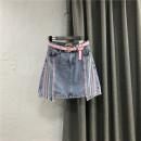 skirt Summer 2021 S,M,L,XL Picture color / Belt Short skirt commute High waist A-line skirt stripe Type A Denim Ocnltiy cotton Button, zipper, stitching Korean version 251g / m ^ 2 (including) - 300g / m ^ 2 (including)