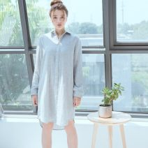 Nightdress Other / other Sdb-001 (gray) M, L Simplicity Long sleeves Leisure home longuette Solid color youth Shirt collar cotton More than 95% pure cotton