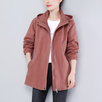 short coat Spring 2021 M L XL 2XL 3XL 4XL Water blue lotus root Pink Black Long sleeves routine routine singleton  easy commute routine Hood zipper Solid color 40-49 years old Ah duo Qiao 96% and above Pocket zipper panel ADQ7221 cotton cotton Cotton 100% Pure e-commerce (online only)