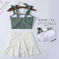 Split swimsuit Other Green white skirt M,L,XL Skirt split swimsuit With chest pad without steel support Nylon, others female