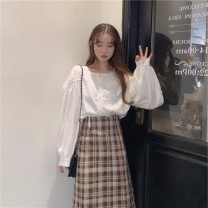 skirt Winter 2016 M L XL 2XL Two piece jacket and skirt longuette Versatile Natural waist Solid color More than 95% Be proud of other Other 100%