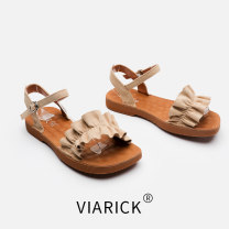 Sandals 39 40 41 42 43 Apricot black PU Vi-arick (clothing) Barefoot Flat bottom Low heel (1-3cm) Spring 2021 Flat buckle leisure time Solid color Adhesive shoes Youth (18-40 years old) rubber daily Back space Low Gang PU PU 81un8 Fashion sandals Shaving Pure e-commerce (online only)