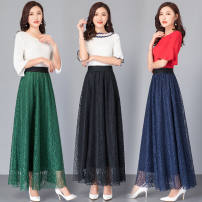 skirt Winter 2016 M (recommended 80-100 kg), l (recommended 100-120 kg), XL (recommended 120-145 kg), 2XL (recommended 145-175 kg) Black [lace skirt], Royal Blue [lace skirt], dark green [lace skirt], red [lace skirt] longuette Versatile High waist A-line skirt Lace Lace