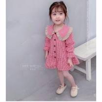 shirt Red, black Other / other female 80cm, 90cm, 100cm, 110cm, 120cm, 130cm, one size smaller spring and autumn Long sleeves Korean version lattice cotton Lapel crew neck