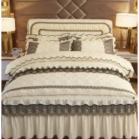 Bedding Set / four piece set / multi piece set Others Quilting Solid color high-density Other / other Polyester (polyester fiber) 4 pieces other Peacock blue, turquoise green, rouge powder, bean paste red, lotus jade, charm purple, cream yellow, fog gray, if you need no bed end, please note this item