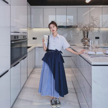 Dress Summer 2021 stripe S M L XL longuette singleton  Short sleeve commute Polo collar High waist stripe Single breasted A-line skirt routine Others 25-29 years old Type A Kemizi Korean version Bowknot stitching 81% (inclusive) - 90% (inclusive) cotton Cotton 90% polyester 10%