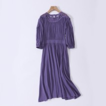 Dress Autumn of 2019 Purple, greyish green S,M,L,XL singleton  three quarter sleeve commute Crew neck Loose waist Solid color Socket Pleated skirt routine Others Type A Gouhua hollowed out, splicing 83152532 S 31% (inclusive) - 50% (inclusive) brocade cotton