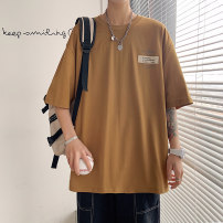 T-shirt Youth fashion Light green, earthy yellow, white, black, dark gray thin 165/M 170/L 175/XL 180/2XL 185/3XL 190/4XL Shallow gauge Short sleeve Crew neck easy Other leisure summer QJ-131 Cotton 100% youth routine Youthful vigor Summer 2021 letter Label printing cotton Creative interest