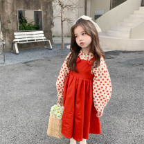 Dress female Other / other 90cm,100cm,130cm,140cm,110cm,120cm Cotton 100% spring and autumn Korean version Long sleeves Solid color cotton A-line skirt 2 years old, 3 years old, 4 years old, 5 years old, 6 years old, 7 years old, 8 years old