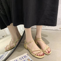 Sandals 35,36,37,38,39,40 Off white, yellow, off white [upgrade], yellow [upgrade], off white [cross], green [cross], off white cross [upgrade], green cross [upgrade] PU Daphne's recommendation Barefoot Flat bottom Low heel (1-3cm) Summer 2020 Flat buckle comfortable Solid color Adhesive shoes rubber