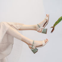 Sandals Superfine fiber Daphne's recommendation Barefoot Thick heel Middle heel (3-5cm) Summer 2020 Flat buckle Korean version Color matching Sewing shoes rubber daily Back space Buckle, color block, thick heel, Roman style Low Gang Microfiber skin Microfiber skin Flat buckle Shaving