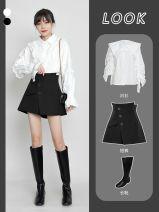 Casual pants Black, brown XS,S,M,L,XL,2XL Autumn 2020 shorts Wide leg pants High waist commute EULpa6719 Other Korean version