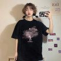 T-shirt White dark bear T-shirt, black dark bear T-shirt Average size Spring 2021 Short sleeve Crew neck easy Regular routine commute cotton 51% (inclusive) - 70% (inclusive) 18-24 years old Korean version ONLY PERTECT