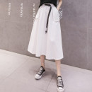 skirt Summer 2021 S M L XL 2XL White + fresh green + elegant black + temperament Mid length dress Versatile High waist A-line skirt Solid color Type A LYY21-856 More than 95% other Li Yinyan other Pocket tie Other 100% Pure e-commerce (online only)