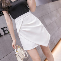 skirt Summer 2021 S M L XL White black Short skirt Versatile High waist A-line skirt Solid color Type A LYY21 - eight thousand six hundred and seventy-three More than 95% other Li Yinyan other Fold asymmetric zipper Other 100% Pure e-commerce (online only)