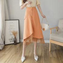 skirt Summer 2021 XL S M L Orange Black apricot Mid length dress Versatile High waist Irregular Solid color Type A LYY21-6523 More than 95% Li Yinyan other Button gauze Other 100% Pure e-commerce (online only)