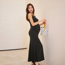 Dress Other Black [extended] 163-173cm, black [long] 155-165cm, gray [extended] 163-173cm, gray [long] 155-165cm M,L,XL Korean version Short sleeve Medium length summer V-neck Solid color polyester